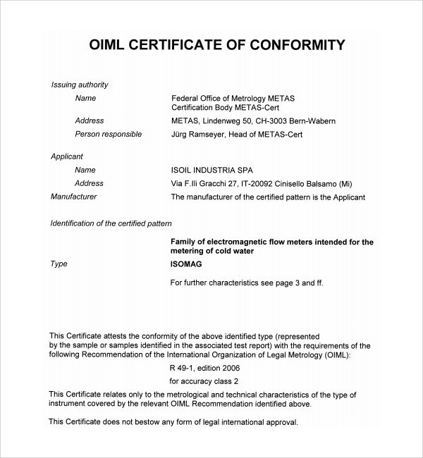Certificate Of Conformance Template Sample Conformity Certificate Template 15 Documents In