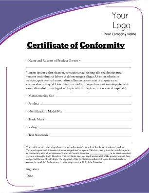 Certificate Of Conformity Template Certificate Of Conformity Templates