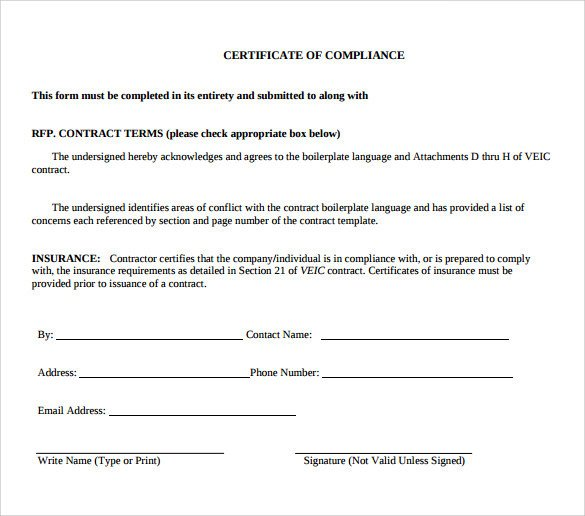 Certificate Of Conformity Template Sample Certificate Of Pliance 16 Documents In Pdf