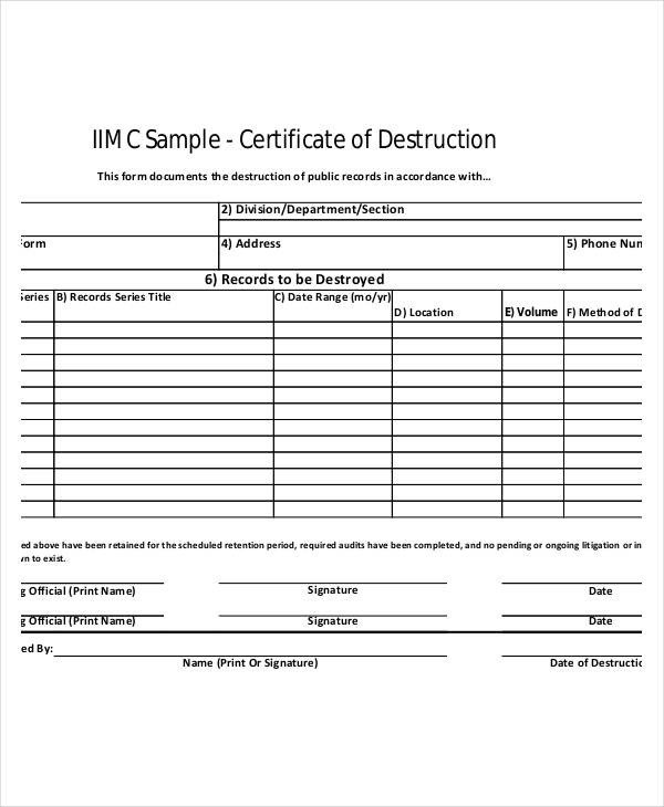 Certificate Of Destruction Template 21 Of Records Destruction Log Template