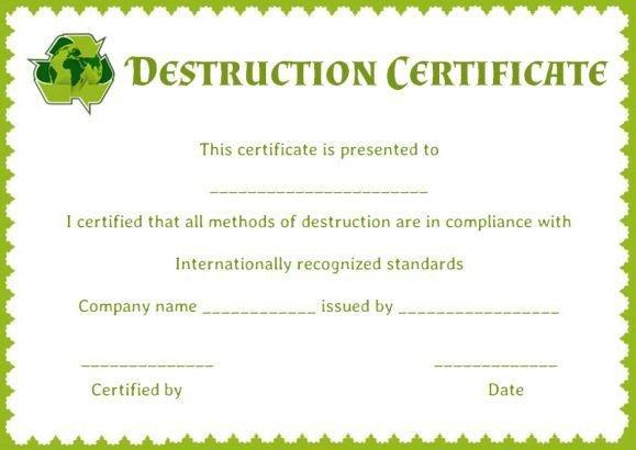Certificate Of Destruction Template Certificate Of Data Destruction Template
