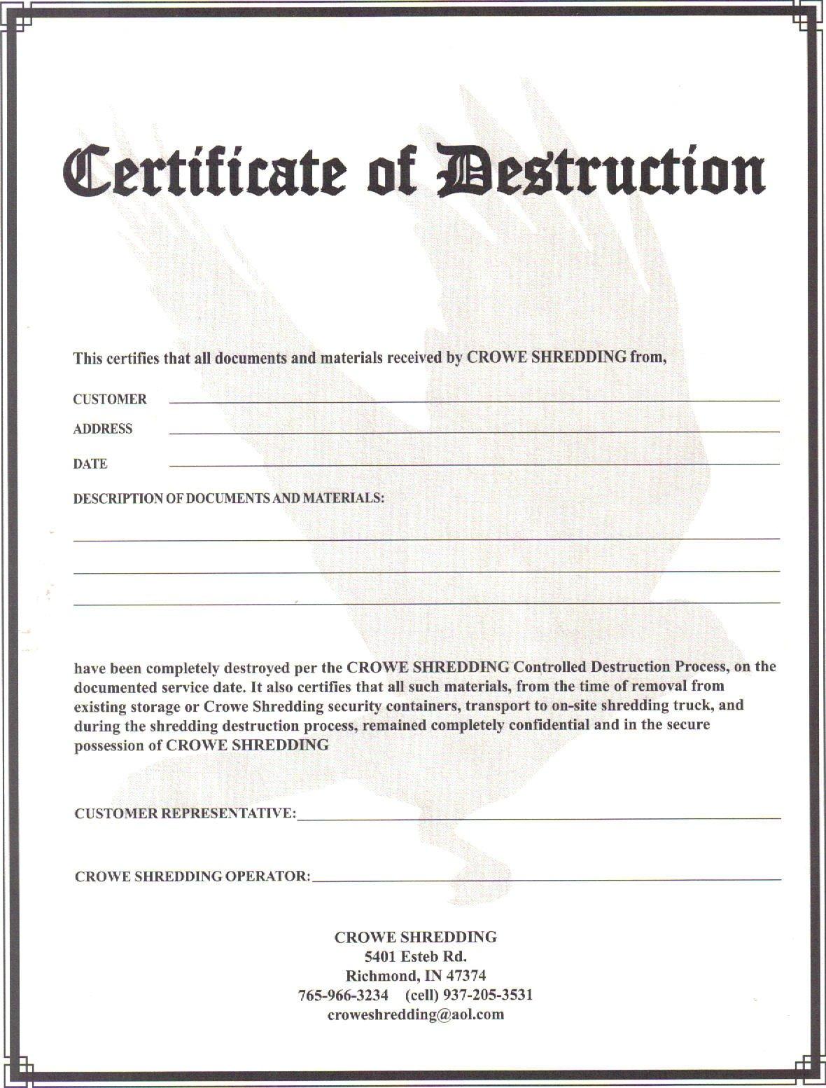 Certificate Of Destruction Template Certificate Of Destruction 2011 Crowe Shredding