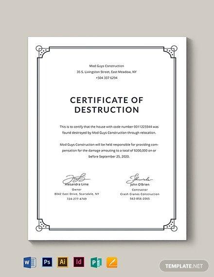 Certificate Of Destruction Template Certificate Of Destruction Download 333 Certificates