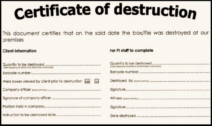 Certificate Of Destruction Template Certificate Of Destruction for Document Shredding