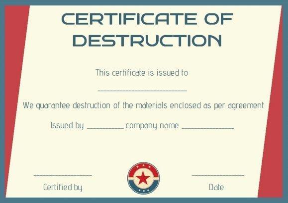 Certificate Of Destruction Template Certificate Of Destruction Template