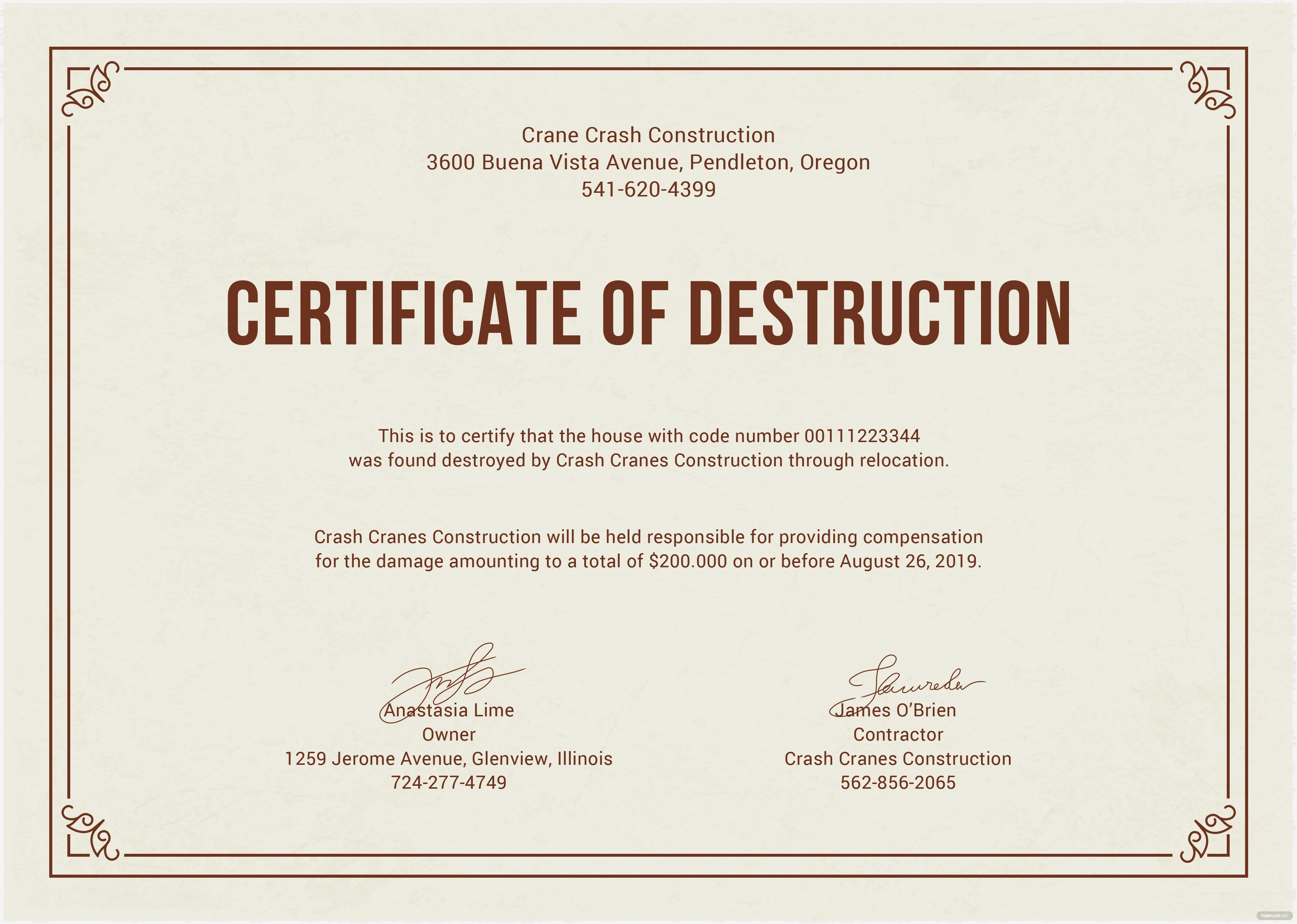 Certificate Of Destruction Template Free Certificate Of Destruction Template In Adobe