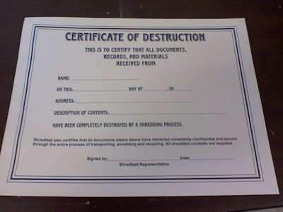 Certificate Of Destruction Template More Adventurous Certificate Destruction