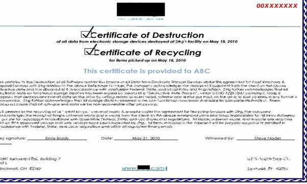 Certificate Of Destruction Template Ptia A Exam 220 902 Sub Objective 3 6 Data Destruction