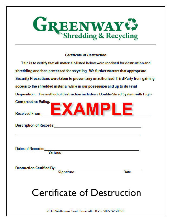 Certificate Of Destruction Template the Document Destruction Process ⋆ Greenway Shredding