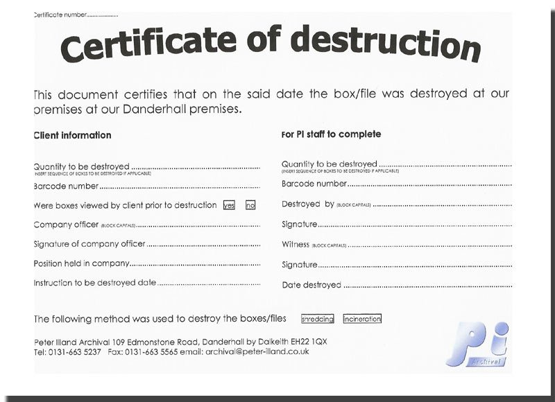 Certificate Of Destruction Template Untitled Document [ Illand]