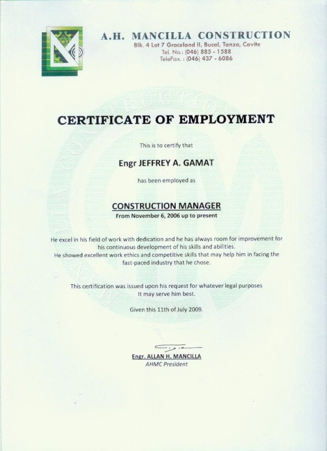 Certificate Of Employment form Employment Certificate