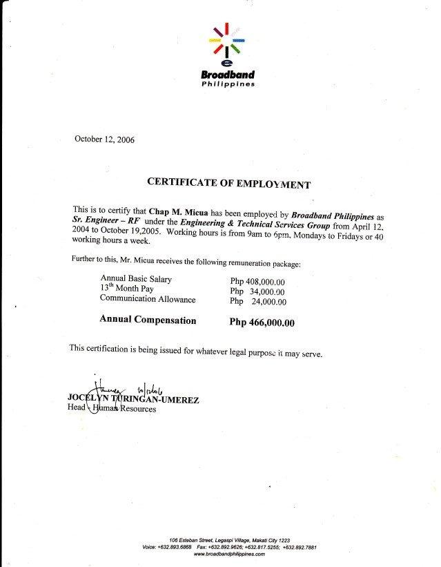 Certificate Of Employment Template 06 Broadband Philippines Coe3