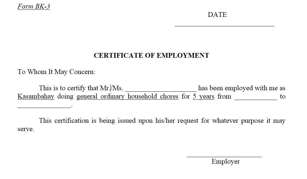 Certificate Of Employment Template 12 Free Sample Employment Certificate Templates