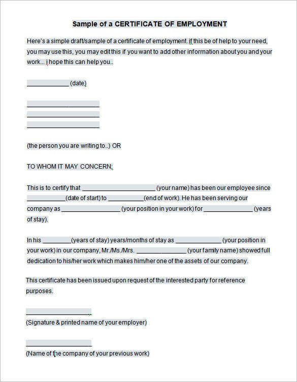 Certificate Of Employment Template 40 Employment Certificates Pdf Doc