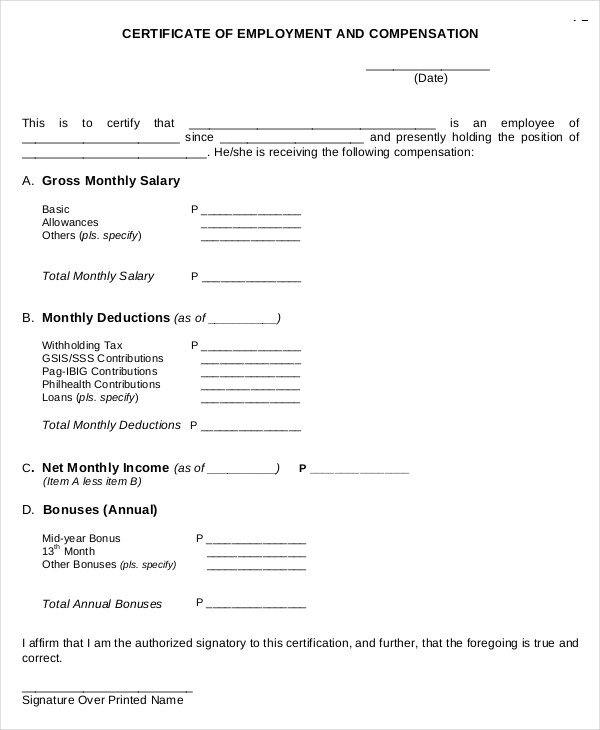 Certificate Of Employment Template Certificate Employment and Pensation to Pin
