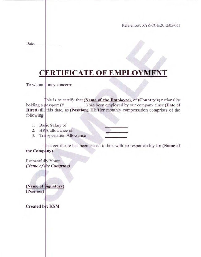 Certificate Of Employment Template Certificate Employment Currently Employed