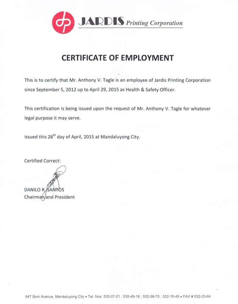 Certificate Of Employment Template Certificate Of Employment and Training Certificates