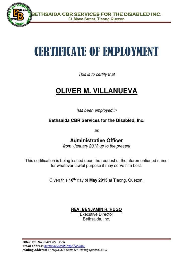 Certificate Of Employment Template Certificate Of Employment Samplecx