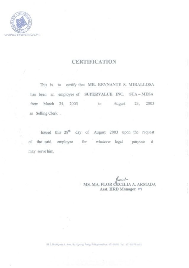 Certificate Of Employment Template Certificate Of Employment [sm Selling Clerk]