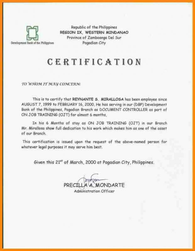 Certificate Of Employment Template Donation Acknowledgement Letter