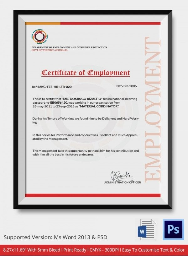 Certificate Of Employment Template Employment Certificate 36 Free Word Pdf Documents