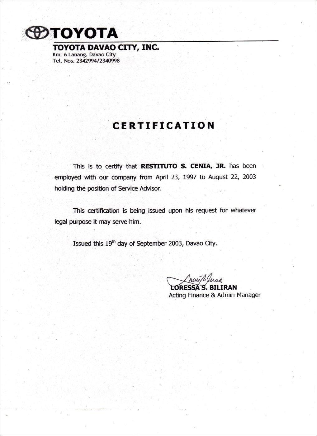 Certificate Of Employment Template Employment Certificate Sample Best Templates Pinterest