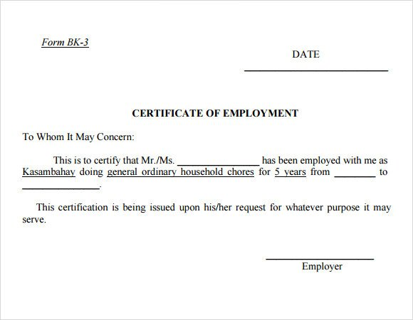 Certificate Of Employment Template Employment Certificate Template 20 Download Free