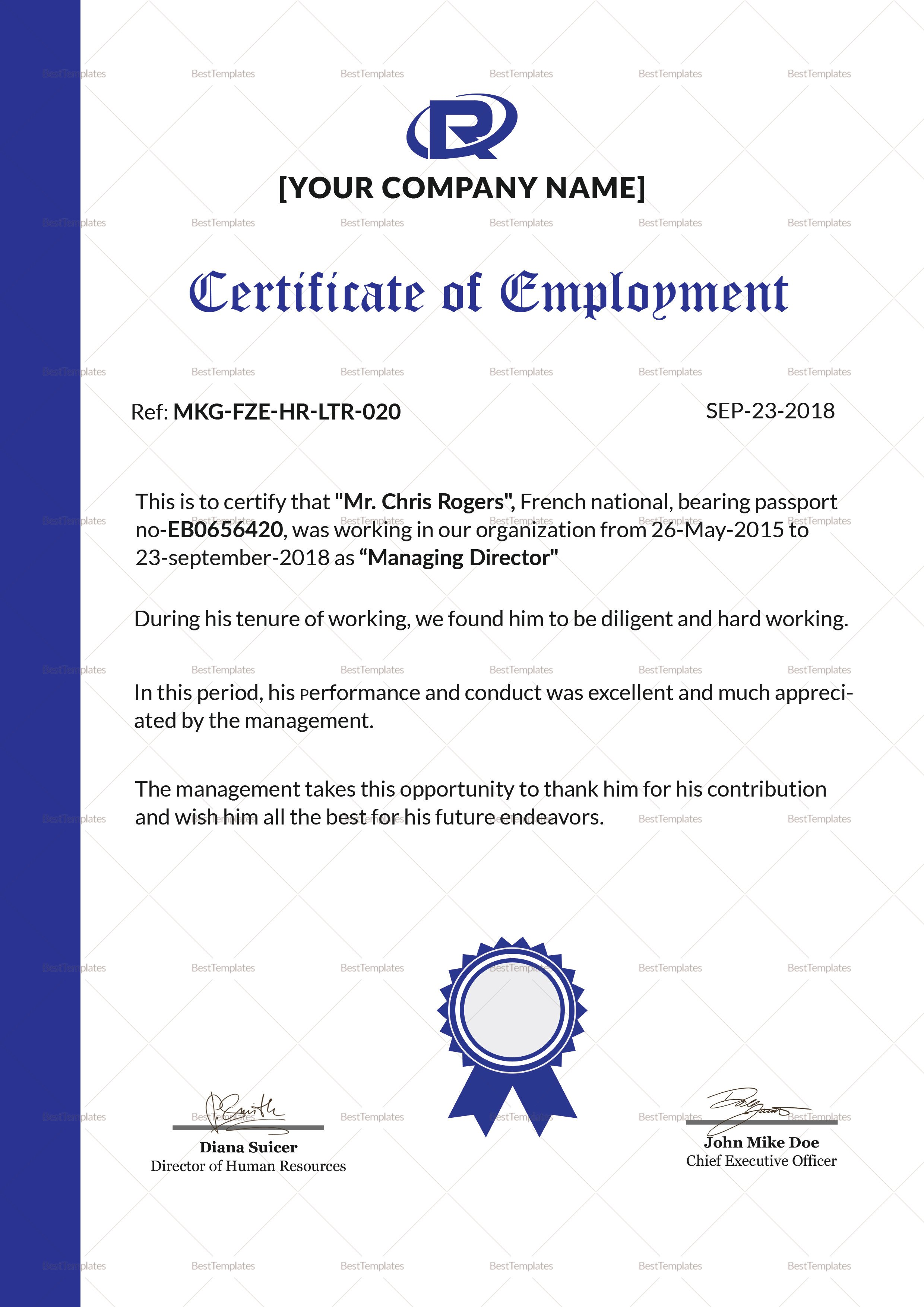 Certificate Of Employment Template Excellent Employment Certificate Design Template In Psd Word