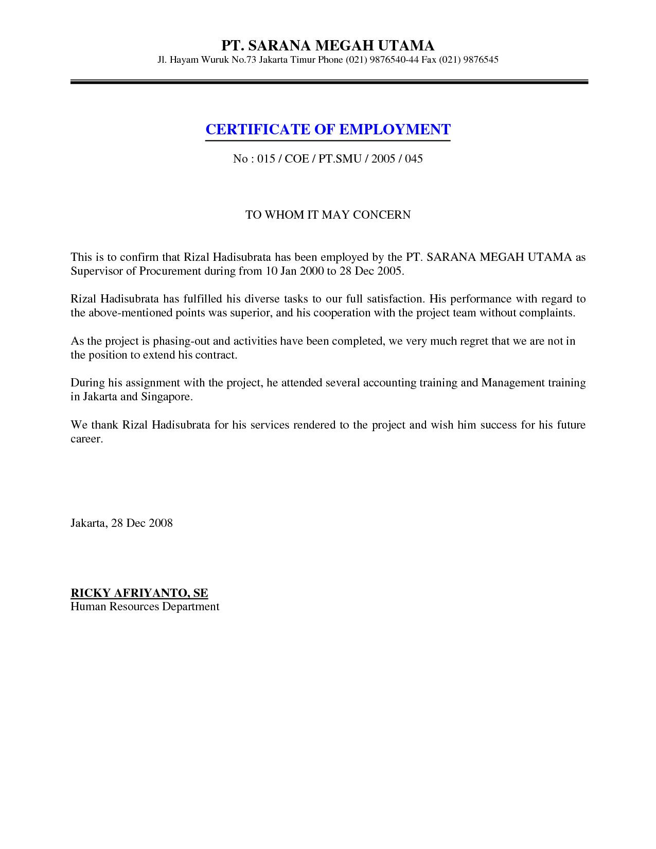 Certificate Of Employment Template Job Employment Certificate Sample Certification Letter