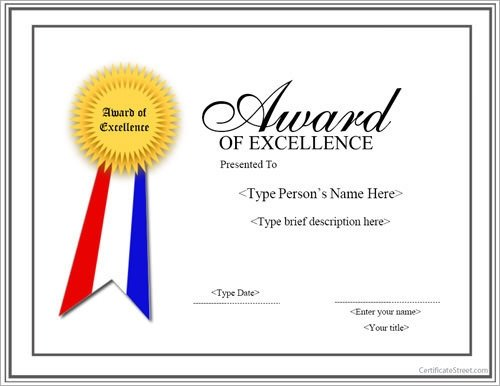 Certificate Of Excellence Template 13 Sample Certificates Documents Download In Pdf Word Psd