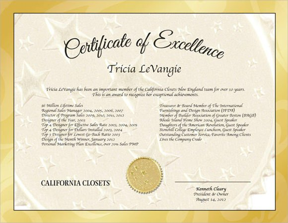 Certificate Of Excellence Template 15 Certificate Of Excellence Templates Sample Word Ai