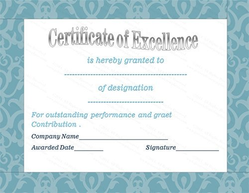 Certificate Of Excellence Template 37 Best Award Certificate Templates Word Psd Ai Eps