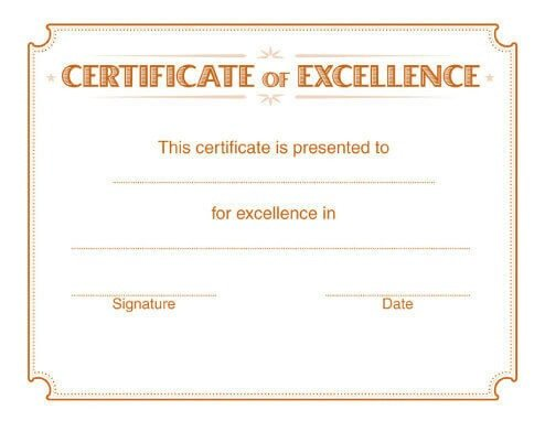 Certificate Of Excellence Template 5 Free Printable Certificates Of Excellence Templates