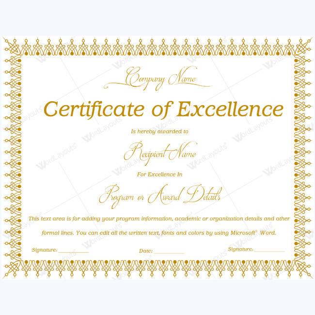 Certificate Of Excellence Template 89 Elegant Award Certificates for Business and School events