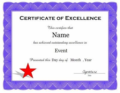 Certificate Of Excellence Template A Certificate Of Excellence Template In Pdf and Doc
