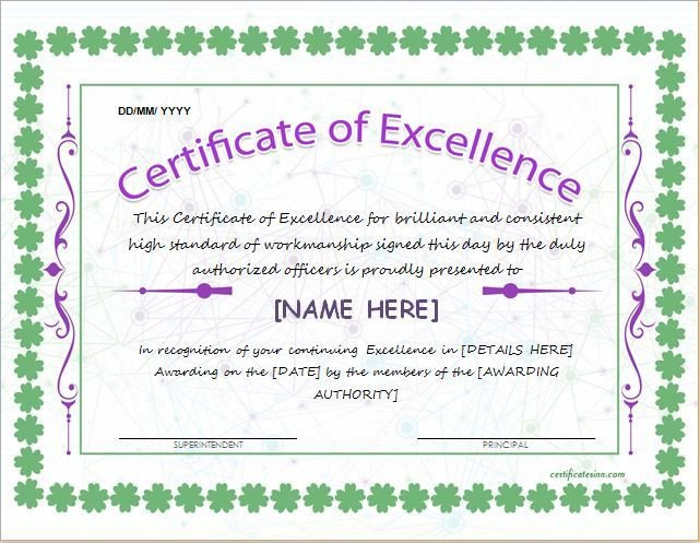 Certificate Of Excellence Template Certificate Of Excellence Template for Ms Word Download at
