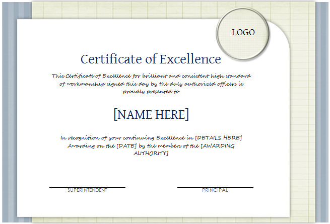 Certificate Of Excellence Template Certificate Of Excellence Template for Word