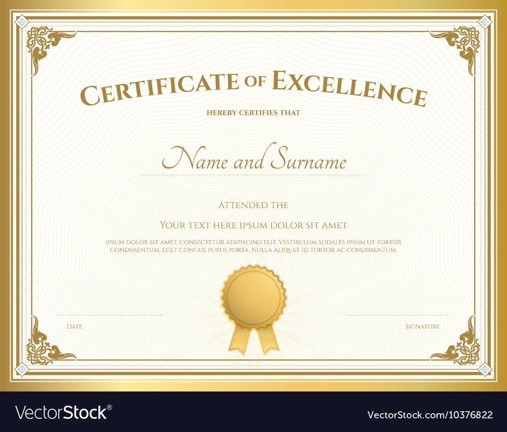 Certificate Of Excellence Template Certificate Of Excellence Template Gold theme Vector Image