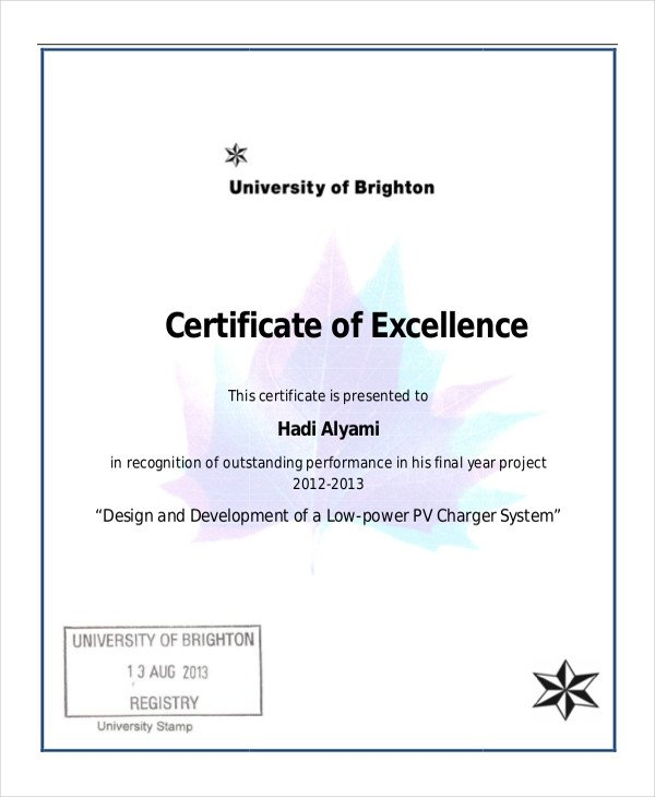 Certificate Of Excellence Template Excellence Certificate Template 22 Word Pdf Psd