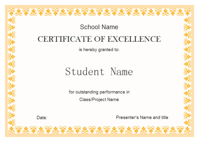 Certificate Of Excellence Template Perfect Example Of Editable Certificate Of Excellence
