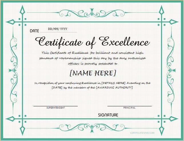 Certificate Of Excellence Template Pin by Alizbath Adam On Certificates