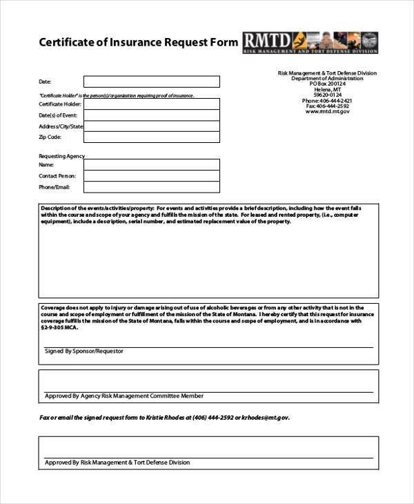 Certificate Of Insurance Template Certificate form Templates