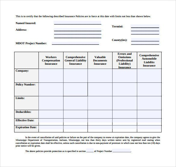 Certificate Of Insurance Template Certificate Insurance Template 14 Download Free
