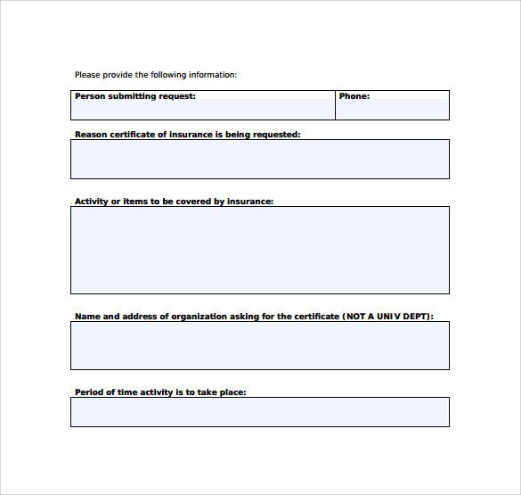 Certificate Of Insurance Template Certificate Of Insurance Template 15 Download Free