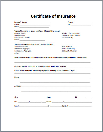 Certificate Of Insurance Template Sample Insurance Certificate Archives Microsoft Word