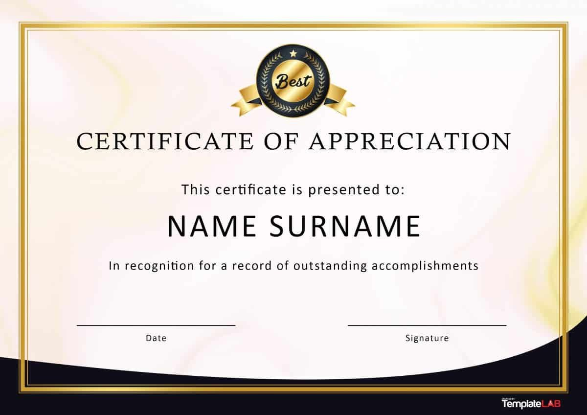 Certificate Of Recognition Template 30 Free Certificate Of Appreciation Templates and Letters