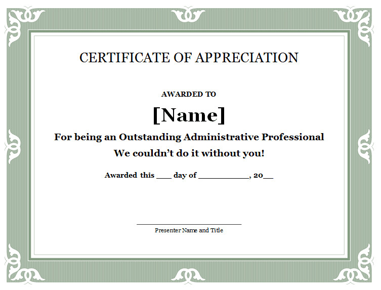 Certificate Of Recognition Template 31 Free Certificate Of Appreciation Templates and Letters