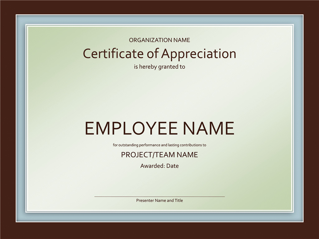 Certificate Of Recognition Template Certificates Fice