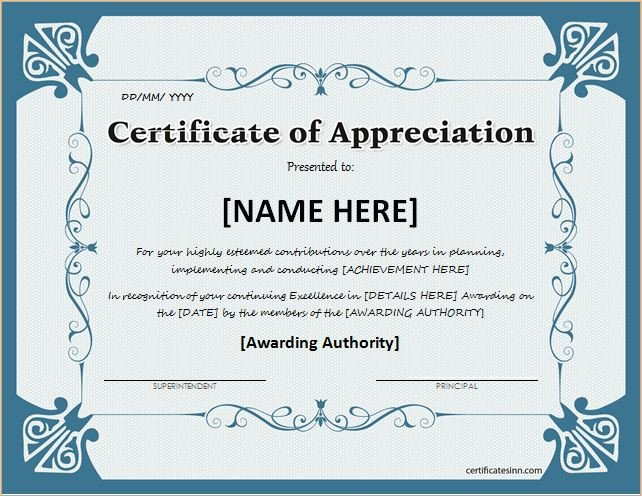 Certificate Of Recognition Template Certificates Of Appreciation Templates for Word