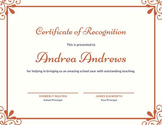 Certificate Of Recognition Template Customize 131 Recognition Certificate Templates Online
